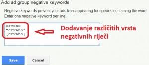 Vrste negativne rijeci adwords