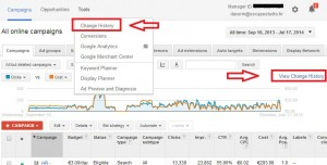 Adwords change history buttons