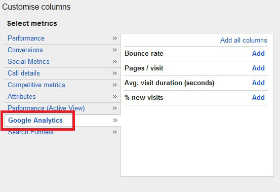 Analytics stupci u adwords sucelju