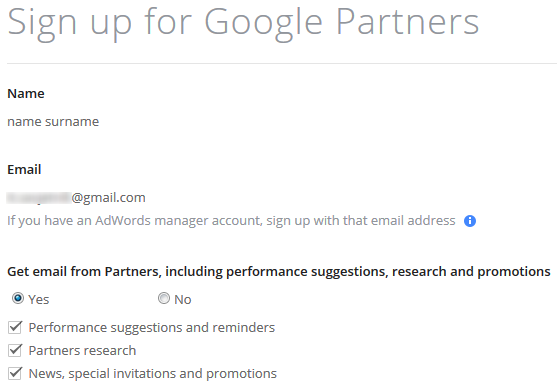 Google Partners sign up