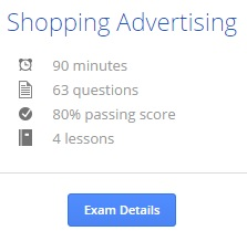 Adwords shopping test info
