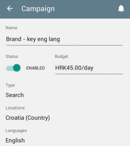 AdWords App Campaign choices