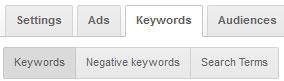 Keywords tab adwordsa